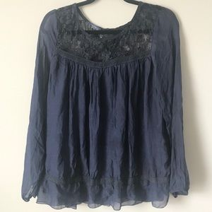 3/$12 Giulia navy blue lace silk small peasant top